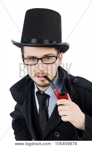 Young detective with smoking pipe isolated on white