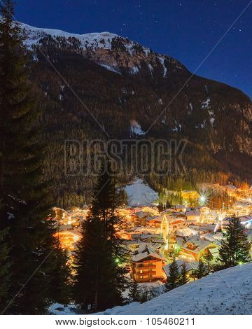 Winter landscape of village in the mountains