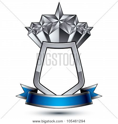 Five Vector Silver Stars With Wavy Ribbon Placed On A Protection Shield, 3D Sophisticated Pentagonal