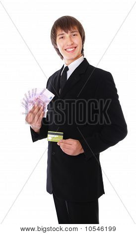Man With The Credit Card And Money Is Smiling
