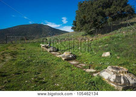 Green Plains, Ruins And Mountains Around Vitina, Peloponnese, Greece