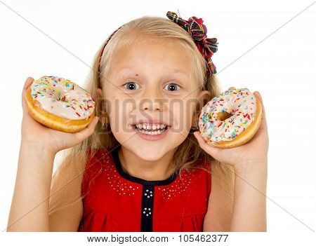 Pretty Little Female Child Holding Two Sugar Donuts Smiling Happy In Children Love Eating Sweet