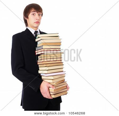 Student With Many Books Is Shocked
