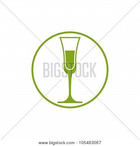Classic Champagne Glass, Alcohol Beverage Theme Illustration. Lifestyle Vector Graphic Design Elemen