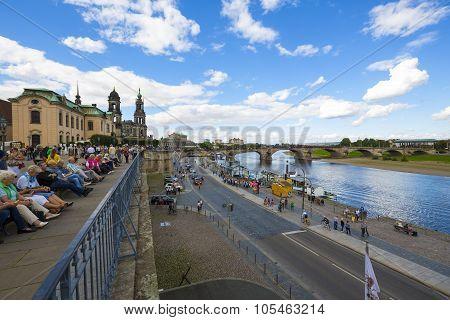 General View Of River Elbe In Dresden