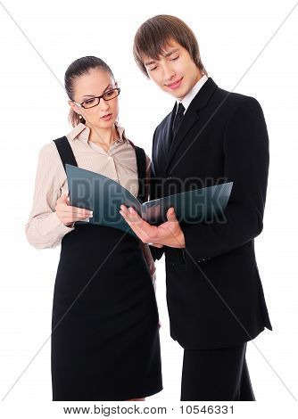 Man And Woman Is Reading Business Documents
