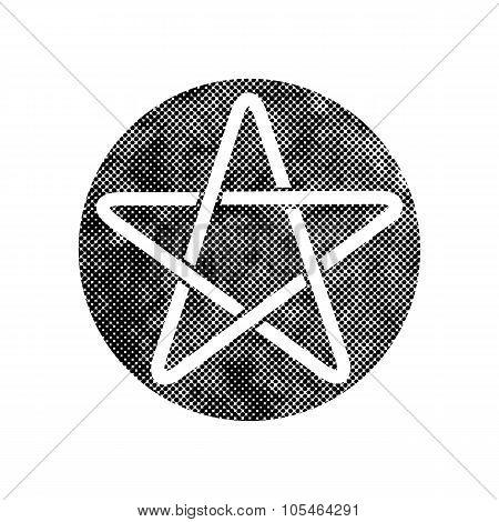 Pentagram or pentagonal monochrome star vector icon with pixel print halftone dots texture.