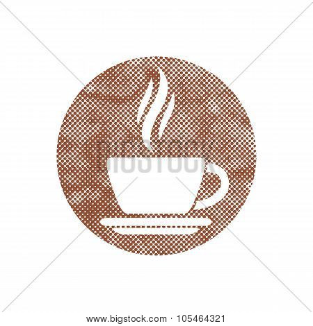 Cup Of Coffee Icon With Pixel Print Halftone Dots Texture.