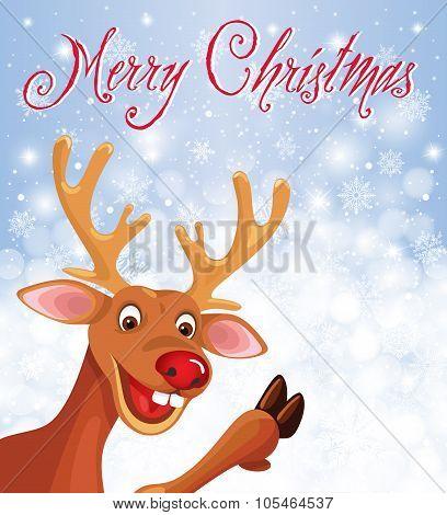 Happy Reindeer Rudolph in corner on snowflake background