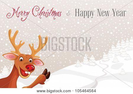 Reindeer Rudolph in corner of snowflake landscape background