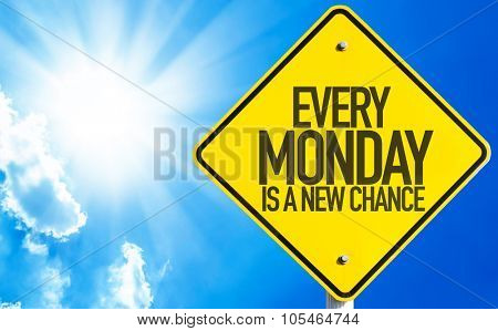 Every Monday Is a New Chance sign with sky background