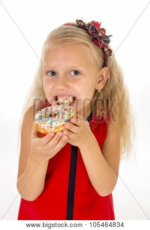 Little Beautiful Female Child With Long Blonde Hair And Red Dress Eating Sugar Donut With Toppings D