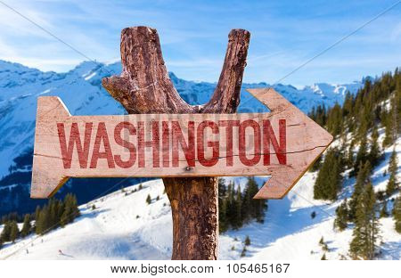 Washington wooden sign with winter background