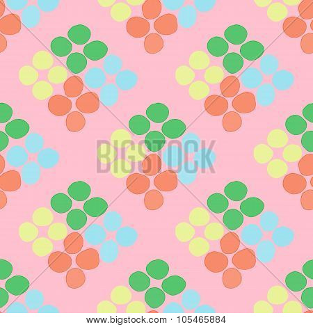 Seamless Pattern With Rhombus Of Circles On A Pink Background