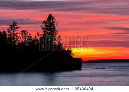 Lake Superior Fiery Sunset Silhouette