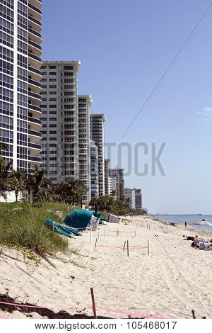 Atlantic Ocean Beach With Tall Condominiums