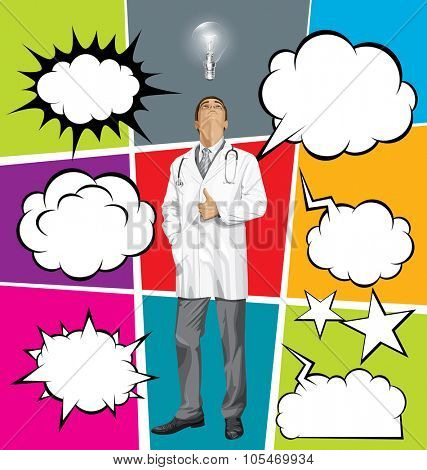 Vector doctor man with stethoscope shows well done, set of comics style speech and thought bubbles