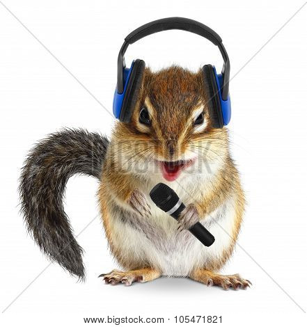 Funny Chipmunk Dj With Headphone And Microphone On White