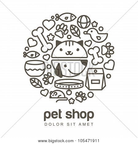 Linear Illustration Of Funny Muzzle Of Cat And Dog. Goods For Animals, Vector Icons Set.