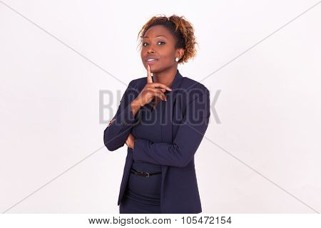 Thoughtful African American Business Woman With , Isolated On White Background - Black People