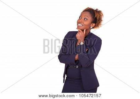 African American Business  Woman With Folded Arms Looking Up , Isolated On White Background - Black