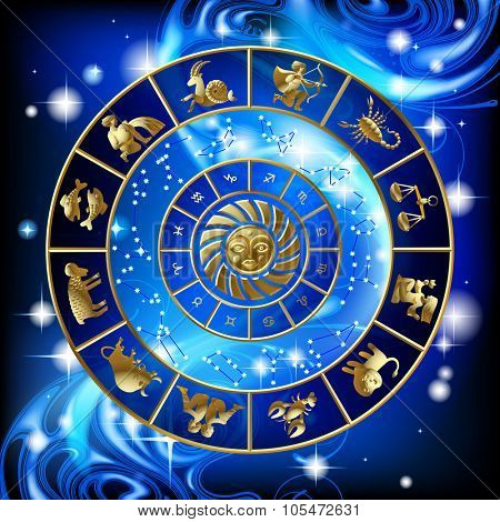 Gold zodiac circle with the signs and the constellations. Calendar cover design