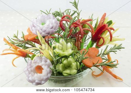 Flower Shaped Vegetables In A Bowl