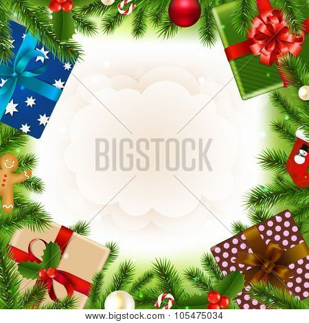Merry Christmas Card With Gradient Mesh, Vector Illustration