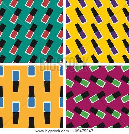Flat Nail Polish Seamless Patterns Set