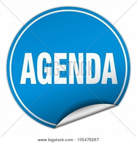 Agenda Round Blue Sticker Isolated On White