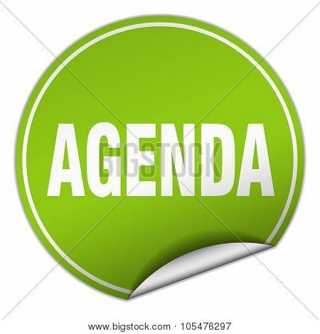 Agenda Round Green Sticker Isolated On White