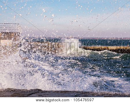 Beautiful Sebackground Splashes Of Water From Large Waves Beating Against The Shore During The Storm