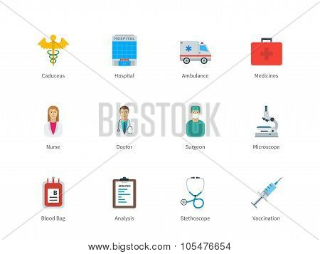 Hospital and Medicine color icons on white background.