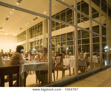 The People Sitting In Restaurant