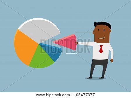 Black businessman take a market pie
