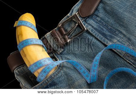 Big Banana Like Penis In Mens Jeans, Centimeter