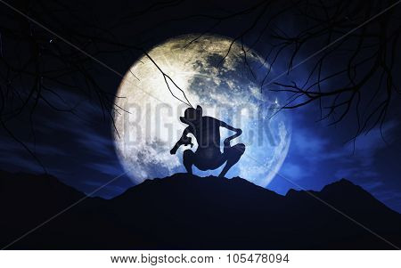 3D render of a Halloween background with creature against moonlit sky - elements of this image furnished by NASA- elements of this image furnished by NASA