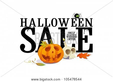 Halloween sale offer design, rasterized version.