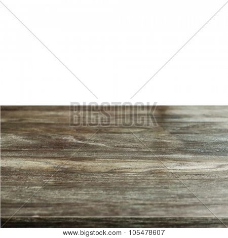 old wooden table isolated on white