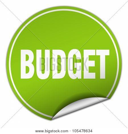 Budget Round Green Sticker Isolated On White