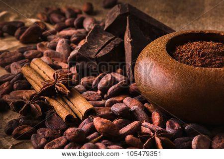 Raw Cocoa Beans, Delicious Black Chocolate, Cinnamon Sticks, Sta