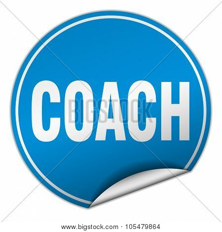 Coach Round Blue Sticker Isolated On White