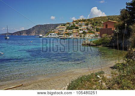 View of Assos village and beautiful sea bay, Kefalonia