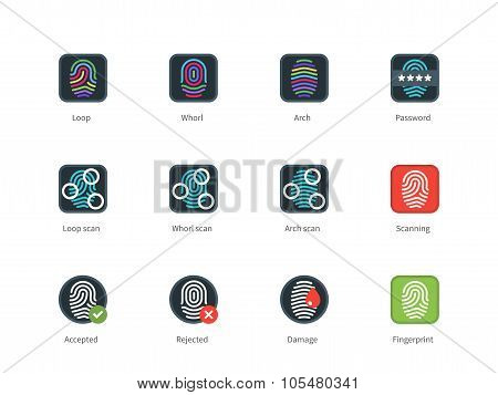 Fingerprint types and Scanning color icons on white background.