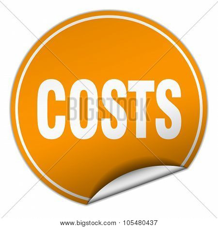 Costs Round Orange Sticker Isolated On White