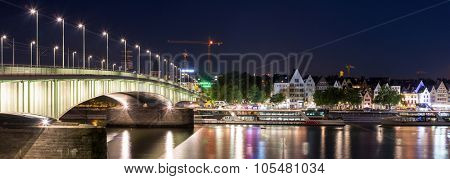Panorama Landscape of Cologne along river rhine Germany.