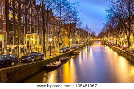 Amsterdam Canals West side at dusk Natherlands
