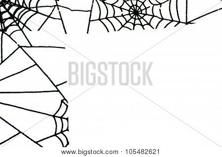 Minimalism Background With Spiderweb Tracery.and Copy Space