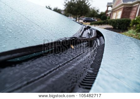 Pearland, Tx/usa - 01 24 2014: Ice On Frozen Car Windshield During Rare Ice Storm In Houston, Tx  Ar