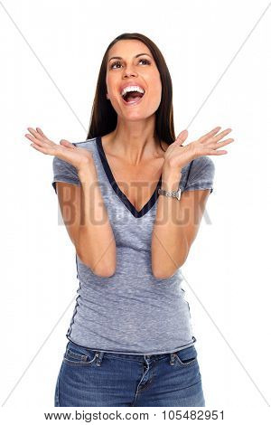 Happy excited woman portrait isolated over white background.